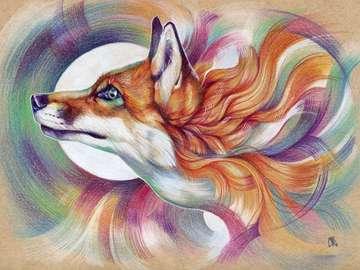 arte astuto - zorro dibujo magia colorido