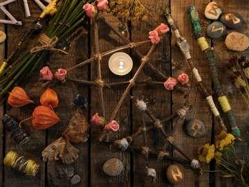 magia de otoño - otoño mágico pentagrama flores brujas