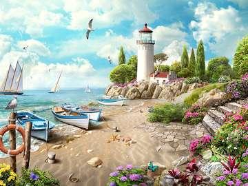 Sea landscape. - Jigsaw puzzle. Sea landscape.