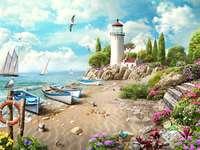 Peisaj de mare. - Poza colorată. Puzzle. Peisaj de mare. Peisaj litoral.