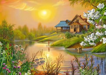 Picture. - Jigsaw puzzle. Landscape. Picture. Landscape. House by the water. A lovely landscape.