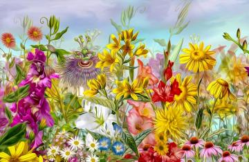 Colorful flowers. - Puzzle: colorful flowers.