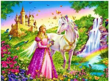 Bajkowe puzzle dla dzieci - Księżniczka w różowej sukience i biały konik. Puzzle dla dzieci.