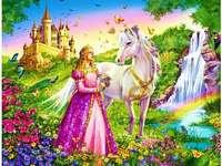 Puzzles de conto de fadas para crianças - Princesa em um vestido rosa e um cavalo branco. Quebra-cabeças infantis.