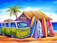 Beach picture - Car, blur, beach and boards, in a word, vacation. Landscapes puzzles, art puzzles