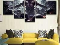 Sofá colorido na sala de estar - Decoração de interiores, sofá colorido na sala de estar