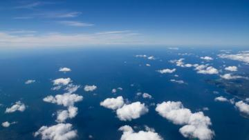 Sea view from the clouds.