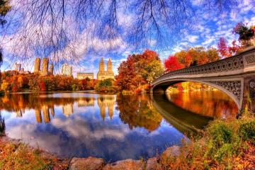 Downtown Manhattan Park in New York - I invite you to puzzle landscapes. Central Park is a huge wooded area in downtown Manhattan, New Yor