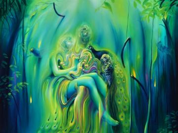 Green magic in the picture - Art puzzles, online puzzles for everyone. Abstraction, green art.