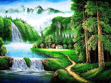 Niesamowita natura, wodospad - Zielony obrazek przedstawiający naturę. W oddali widać wodospad, niesamowita jest nasza natura. P