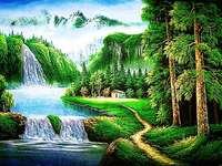 Incredibile natura, cascata - Foto verde della natura. In lontananza puoi vedere la cascata, la nostra natura è incredibile. Puzz