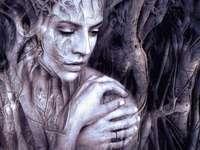 Sentimentalmente, mulher - Enigmas de arte, enigmas de imagem, enigmas on-line. Sentimentalmente, mulher pensativa.
