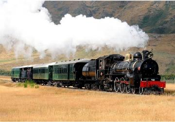 Landscape with a train. - Landscape with a steam train.