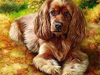 Un chien pour les enfants - Un petit chien brun pour la ponte. Casse-tête pour enfants.