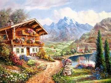 Domek w pięknym otoczeniu - Namalowany krajobraz, na którym widać mały domek. Puzzle krajobrazy, puzzle sztuka.