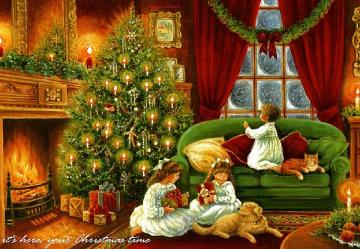 Sisters for Christmas. Christmas scene - Room with Christmas decorations. Christmas tree. sisters