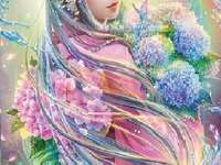 Wrapped in flowers - The girl is wrapped in a veil of flowers