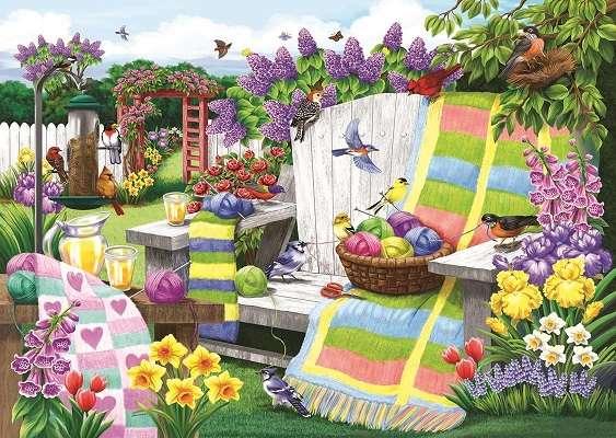 I en färgglad trädgård.