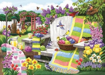 In a colorful garden.