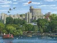 Château de Windsor. - Puzzle: le château de Windsor. Peinture. Château de Windsor. Peinture.