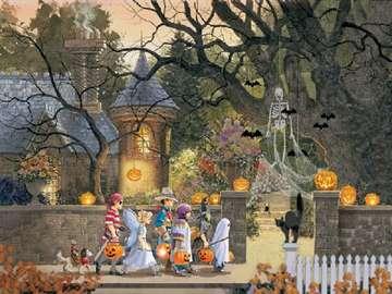 Halloveen. - Halloween Landschaftspuzzle.