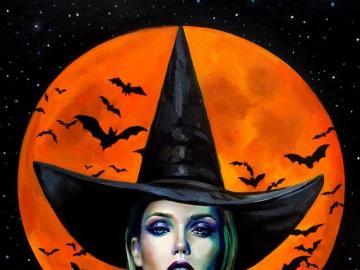 Przebranie na Halloween - Puzzle Halloween, przebranie na Halloween, makijaż Halloween.