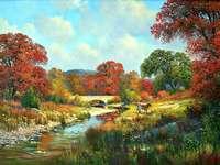 Peisaj de toamnă. - Liderii de toamnă. Peisaj de toamnă cu o nămol. Toamna poloneză, culori diferite pe copaci.