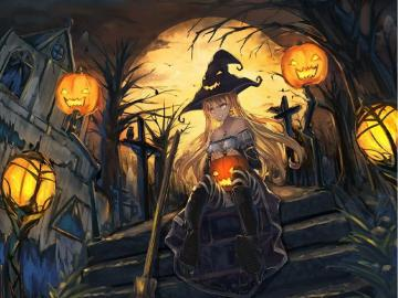 "Pumpkin Girl - On Halloween, a ""real witch"" with a pumpkin lamp wanders"