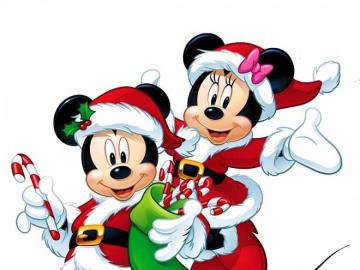 Mickey with his hood - Mickey and Minnie puzzle with a Christmas hood