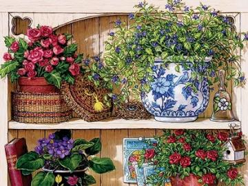 Bookcase with flowers. - Puzzle: bookcase with flowers.