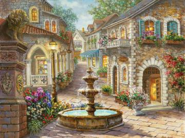 Town. - A town with a fountain. Landscape of a small town. Little town.