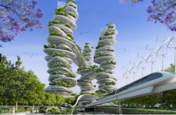 Aliens bring flora - the world of space in architecture, floors of skyscrapers with saucers