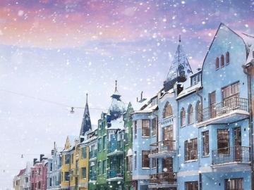 Helsinki in winter - Colorful, snowy city of Helsinki, Finland