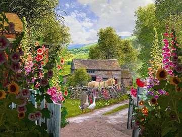 English farm. - Puzzle: an English farm. A beautiful rural landscape. Rural landscape.