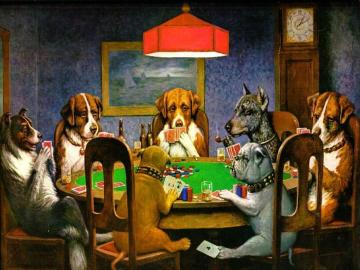 Dogs at the table - Dogs gamble simply