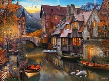 Domy nad rzeką. - Układanka: domy nad rzeką.