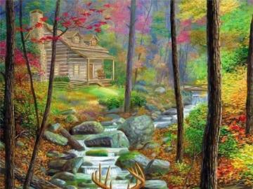 Two deer on the river - Fairytale landscape, puzzle landscapes. Deer by the river