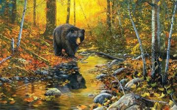 Autumn landscape. - Autumn landscape with a bear.