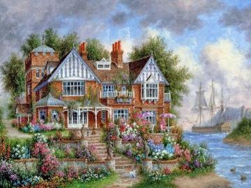 Cottage by the sea. - Puzzle house by the sea.