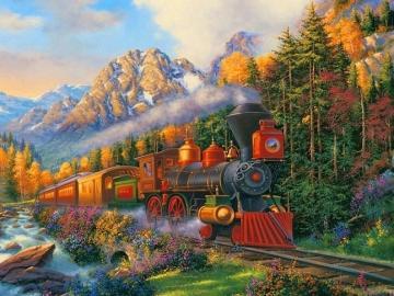 Krajobraz z pociągiem. - Układanka dla dzieci..