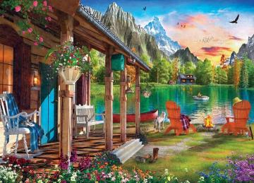 House by the lake. - Puzzle house on the lake. Landscape. House by the lake. House by the lake.