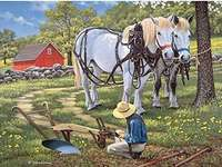Horses in agriculture. - Jigsaw puzzle. Animals. Horses.