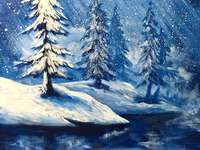 Winter landscape - Beautiful winter picture, puzzle art
