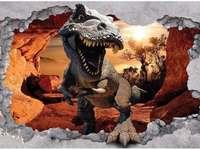 dinossauro - a imagem mostra um tiranossauro Rex saindo da imagem