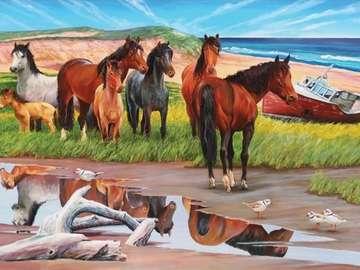 Tabun koni nad morzem. - Tabun koni nad morzem.
