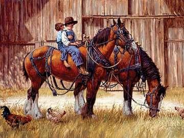 Gniade konie. - Układanka. Zwierzęta. Konie.