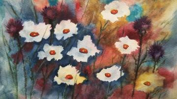 I painted such flowers myself - my own watercolor, of course modeled on the YouTube tutorial :)