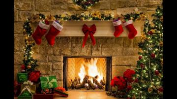 Christmas decoration - Christmas fireplace with presents