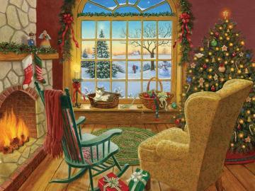 Weihnachtsinnenraum - Puzzle: Weihnachtsinterieur.