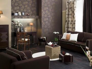 Czekoladowe barwy - Duży salon w czekoladowym kolorze.